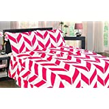 GorgeousHomeLinen Chevron 3/4PC Hot Pink Flat Fitted Pillowcase Sheet Set, Two-Tone Modern Printed Design Silky Soft Microfiber Luxurious Wrinkle, Fade, Stain Resistant Bed Bedding Set (CAL-KING)