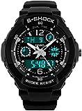 Fanmis Unisex Sport Watch Multifunction Green Led Light Digital Waterproof S - Shock Wristwatch (Black)