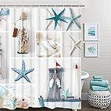 Beach Shower Curtain BLEUM CADE Nautical Shower Curtain Marine Sail Boat Beach Starfish Shell Sea Life Bathroom Decor Bathroom Accessory with Hooks