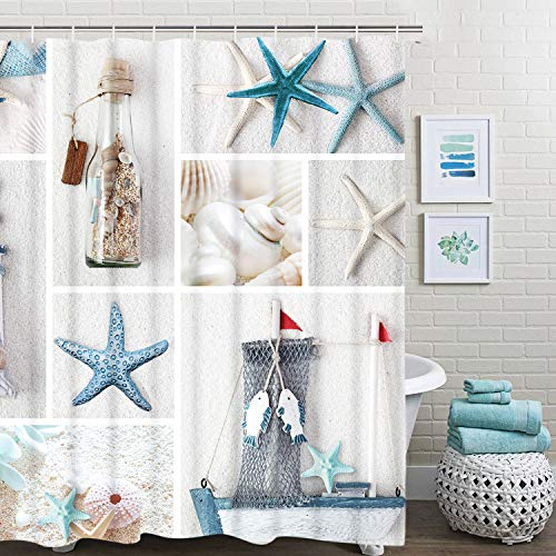 BLEUM CADE Nautical Shower Curtain Marine Sail Boat Beach Starfish Shell Sea Life Bathroom Decor Bathroom Accessory with Hooks ()