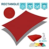 SoLGear 100% Waterproof UV Block 12'x24' Sun Shade Sail Canopy Rectangle Polyester for Pergola Carport Awning Patio Yard- Customized Size Available-Red
