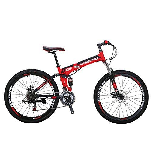 Eurobike Mountain Bike G6 26″ 21 Speed Folding Bike (Red)