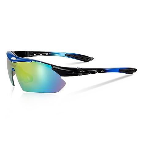 Queshark Bicicletas Ciclismo Deportes Gafas De Sol Polarizadas 4 Lentes Intercambiables De Protección UV (Azul)