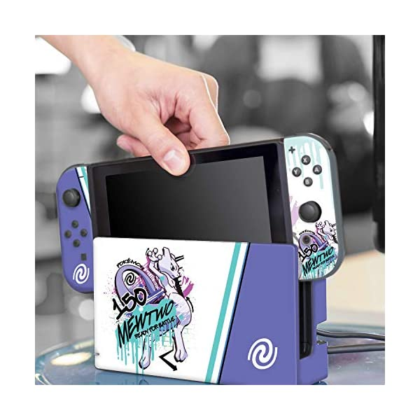 "Controller Gear Officially Licensed Nintendo Pokémon Switch Console Skin ""Mewtwo Skate Set 1"" 8"