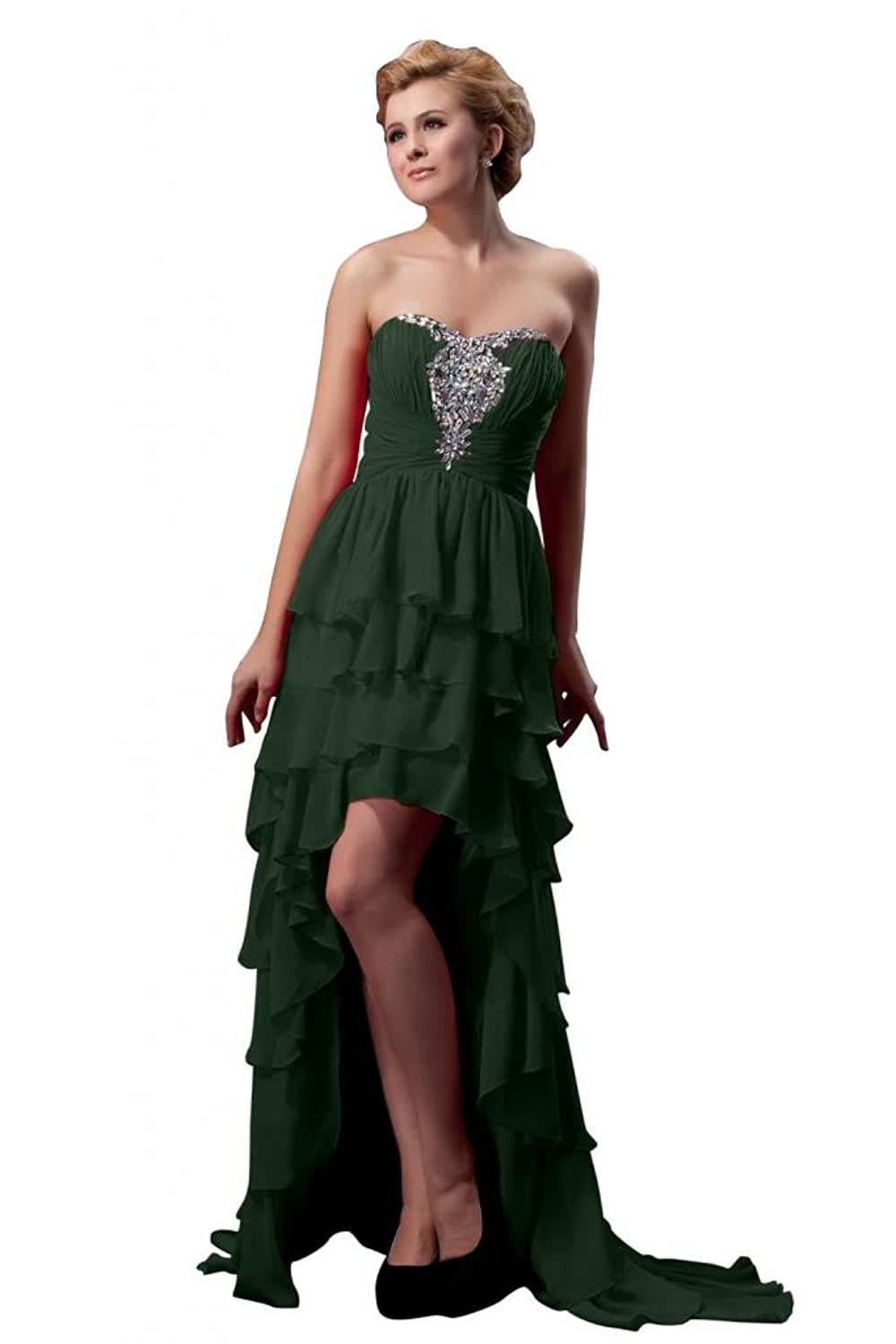 Sunvary Women's Hi-Lo Chiffon Party Gown Strapless Cocktail Dresses-8-Dark Green