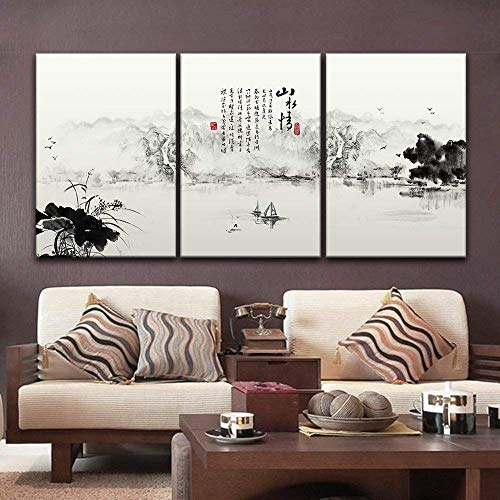 wall26-3 Panel Canvas Wall Art - Chinese Ink Painting Style Mountain and a Boat on The River - Giclee Print Gallery Wrap Modern Home Decor Ready to Hang - 16