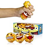 Emoji Stress Balls By YoYa Toys – DNA Molecule Squeezing Stress Relief & Fidget Toy – 3 Different Popular Smiley Face – Risk-Free Sensory Toys For Autism, ADHD, Bad Habits & More – Pack of 3