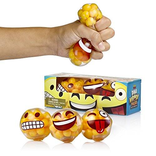 Emoji Stress Balls By YoYa Toys - DNA Molecule Squeezing Stress Relief & Fidget Toy - 3 Different Popular Smiley Face - Risk-Free Sensory Toys For Autism, ADHD, Bad Habits & More - Pack of 3