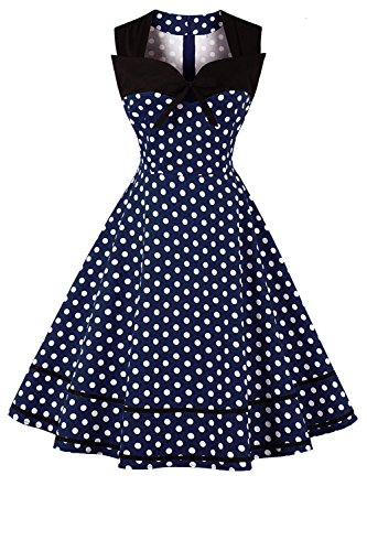 Midi 50's Party Dresses Prom Rockabilly Polka Aline Tea Vintage Swing Dress Dot Blue 60's Sleeveless Cocktail Women Navy Retro 7146qY