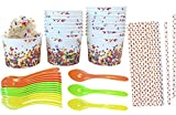 Candy Sprinkles Theme Party Supply - 8 Ounce Ice Cream Bowls - Plastic Spoons - Dot Paper Straws - 18 Each