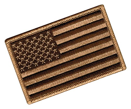 AMERICAN FLAG EMBROIDERED PATCH CAMO BROWN TAN USA US w/ VEL