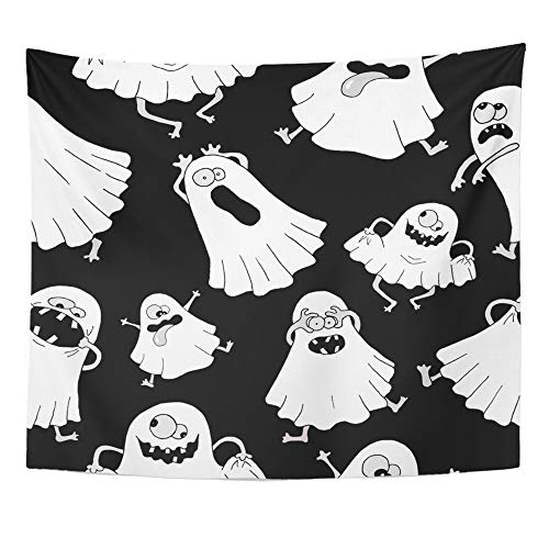 Emvency Tapestry Artwork Wall Hanging Humor with White Ghosts Making Silly Faces on Black Halloween Afraid Bedsheet 50x60 Inches Tapestries Mattress Tablecloth Curtain Home Decor -