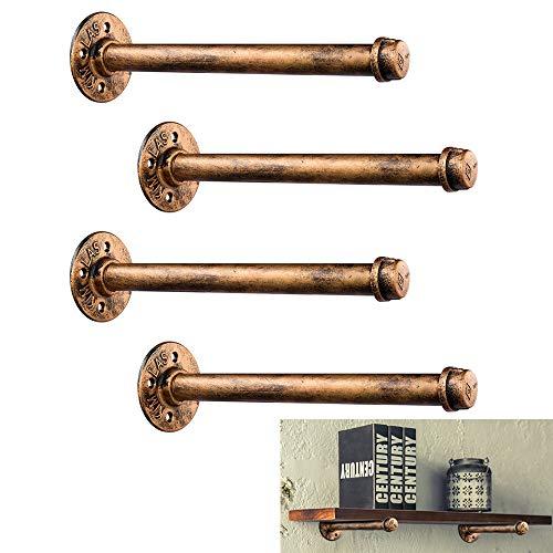 Rustic Industrial Pipe Shelf Brackets 4 Pack,Cheaboom 11