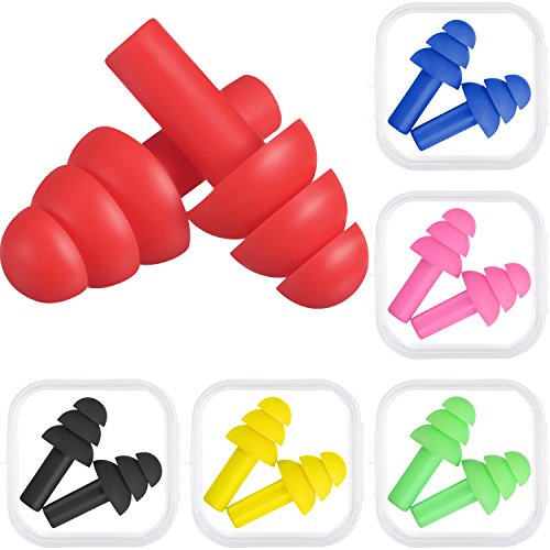 Bememo 6 Pairs Assorted Colors Ear Plugs Noise Cancelling Reusable Earplugs for Sleeping and Swimming (Multicolor B)