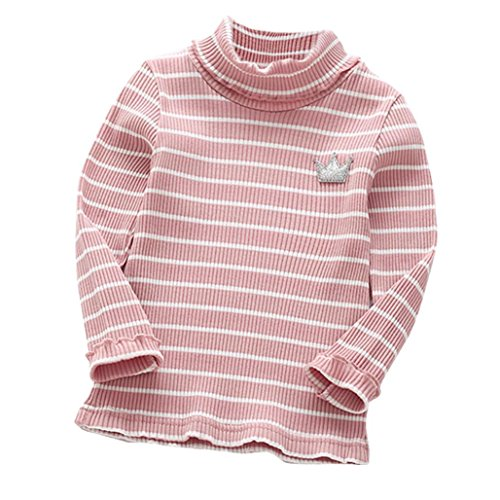 G-real Striped Tops, Toddler Baby Girls Kids Warm Stripe Turtleneck Crown Ruffle T Shirt for 2-6T (Pink, ()