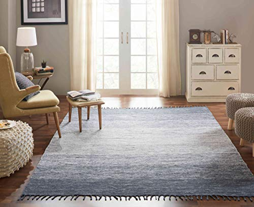 Chesapeake Cotton Ombre Blue Area Rug 13594 Large - Rug Cotton Weave