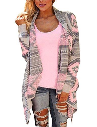 Damen Strickjacke Cardigan Langarmshirt Geometrische Irregular Lose Pullover Mantel Outwear Tops Strickmantel Strick Loose Strickjacke Kimono (L, Rosa )