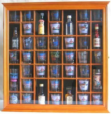 Buy 41 Shot Glass Display Case Cabinet Holder With Glass Door Oak