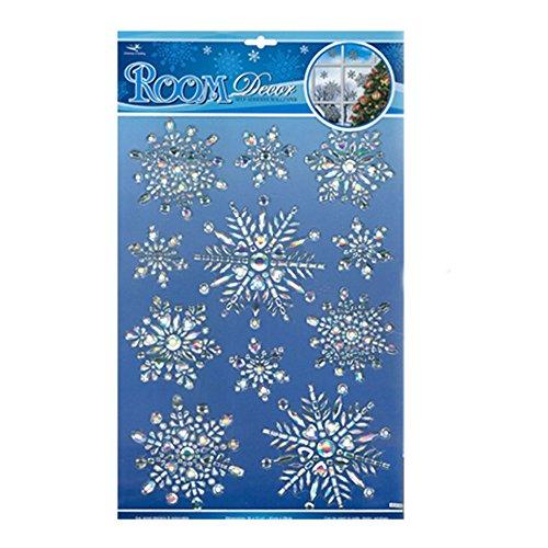 Quasimoon PaperLanternStore.com 3-D Pop-Up Frozen Christmas Snowflake Prismatic Sticker Set Window/Room Decoration (11-PACK) - Prism Decal