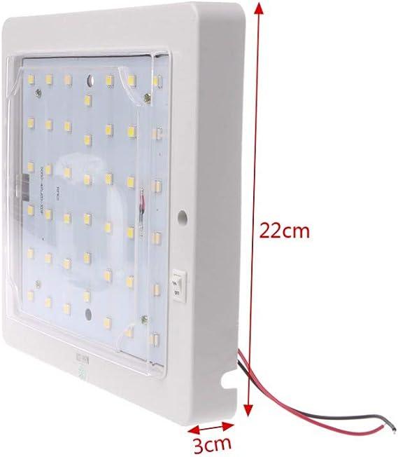 10-30V 3800-4250K Luz Interior Plaf/ón Techo LED Aplique Coche Cami/ón Furgoneta Caravana 1.044 L/úmenes 17.4 W
