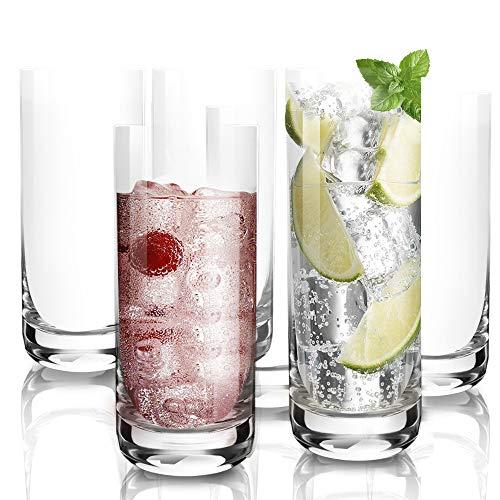 [6-Pack,13.5 Oz]DESIGN•MASTER -Premium Lead Free Highball Glasses, Heavy Base Tall Bar Glass, Drinking Glasses for Water…