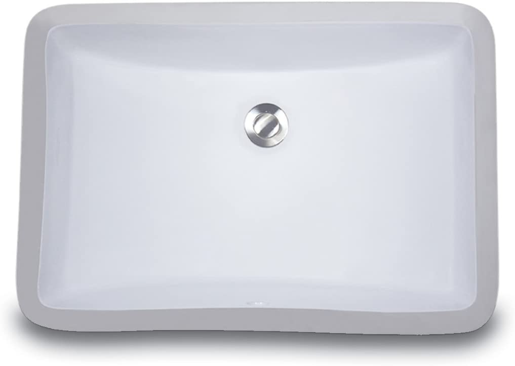 Nantucket Sinks UM-18×12-W 18-Inch by 12-Inch Rectangle Ceramic Undermount Vanity, White