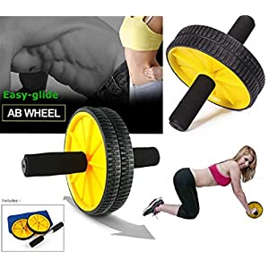PRO365 Double Ab Wheel Roller Core Abdominal Workout with Knee Mat (Random Color)