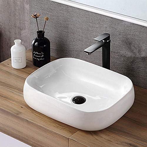 洗面ボウル シンプル北欧オーバルホワイト磁器浴室容器シンク用キャビネット洗面化粧台 洗面器 (Color : White, Size : 56x42x15cm)