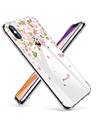 GVIEWIN Clear Designed for iPhone Xs Case/iPhone X Case, Floral Flowers Stylish Design with Shockproof Bumper TPU Women Cover (Pink Sakura)
