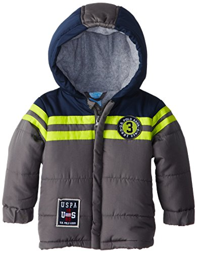 US Polo Association Baby Boys' Three Toned Puffer Jacket with Hood, Grey, 12 Months