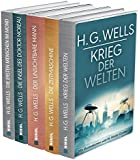 H.G.Wells (fünf Romane) - Krieg der Welten - Die Zeitmaschine - Die Insel des Dr. Moreau - Der unsichtbare Mann - Die ersten Menschen im Mond