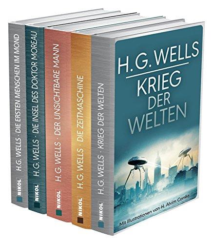 H.G.Wells (fünf Romane) - Krieg der Welten - Die Zeitmaschine - Die Insel des Dr. Moreau - Der unsichtbare Mann - Die ersten Menschen im Mond Gebundenes Buch – 9. März 2018 H.G. Wells Ailin Konrad Nikol 3868204679