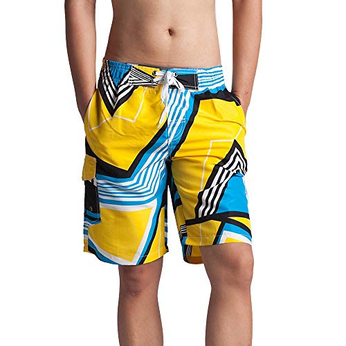 - HaoDong Men's Quick Dry Swim Trunks Water Shorts Beath Shorts with Mesh Lining Yellow
