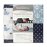 BreathableBaby 3 Piece Classic Crib Bedding Set, Little Whale Navy