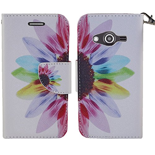 Galaxy Avant Case, SOGA® PU Leather Magnetic Flip Design Wallet Case for Samsung Galaxy Avant G386T (T-Mobile) - Colorful Sunflower [SWF284] (Galaxy Phone Avant T Mobile Case)