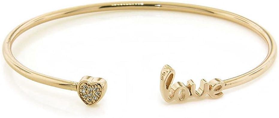 Women//Girls Gold Rhinestone Love Heart Bangle Cuff Bracelet Fashion Jewlery