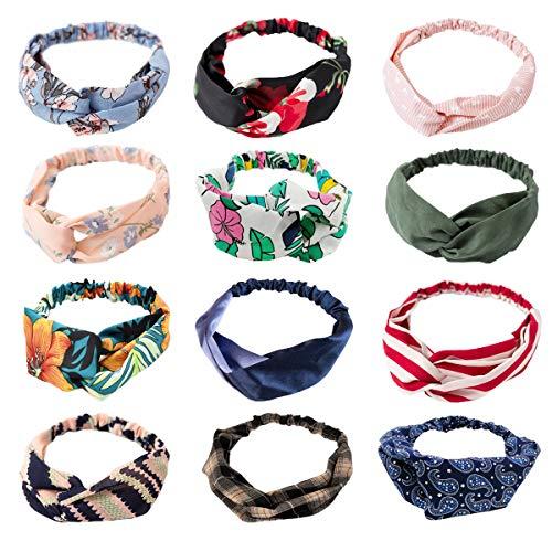 - LZYMSZ 12PCS Women's Headbands,Floral Print Headwrap Twist Knot Hair Band Yoga Head Wraps Sports Elastic Turban,Vintage Printed Criss Cross Knotted for Women Girls (12-A/W)