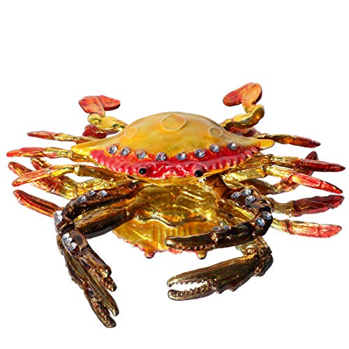 - Waltz&F Hand Painted Crab Bejeweled Trinket Box Hinged Figurines with Gift Box