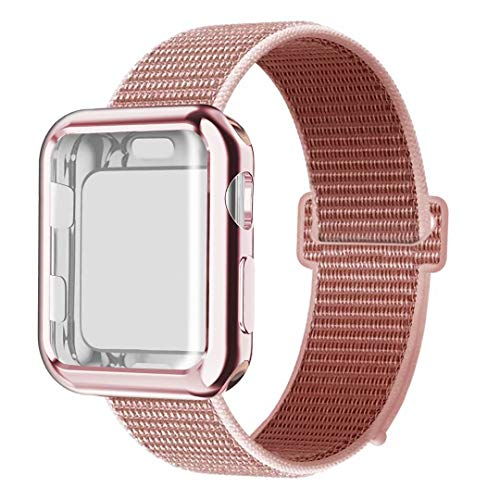 QIENGO Compatible with Apple Watch Band with Case 40MM, Soft Nylon Strap with Silicone Screen Protector, Replacement for iWatch Sport Series 4 (Rose Pink, 40mm)