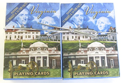 Virginia, Souvenir Playing Cards, Vacation Gift, Card Faces Feature Multiple Landmarks, Oustsanding Tourist Gift. The Two Deck Set Includes a Silver Ribbon by Shopitivity - Virginia Landmark