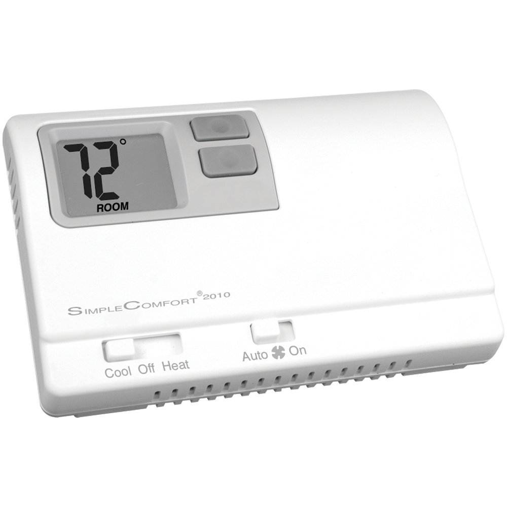 ICM Controls SC2010L Thermostat, 1-Stage Heat/Cool or Heat Pump, Backlit, Dual Power