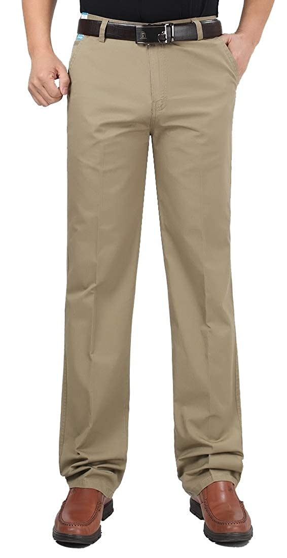 ouxiuli Mens Vintage Stretch Modern-Fit Cargo Flat-Front Pant