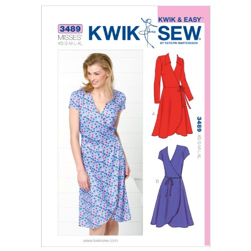 Kwik Sew K3489 Dresses Sewing Pattern, Size XS-S-M-L-XL (Dress Wrap Sew)
