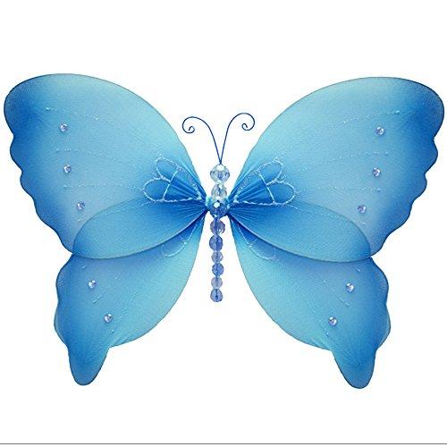 "Hanging Butterfly 10"" Medium Blue Crystal Nylon Butterflies Mesh Decorations Decorate Baby Nursery Bedroom Girls Room Ceiling Wall Decor Wedding Birthday Party Baby Shower Bathroom Kid Child 3D Art"