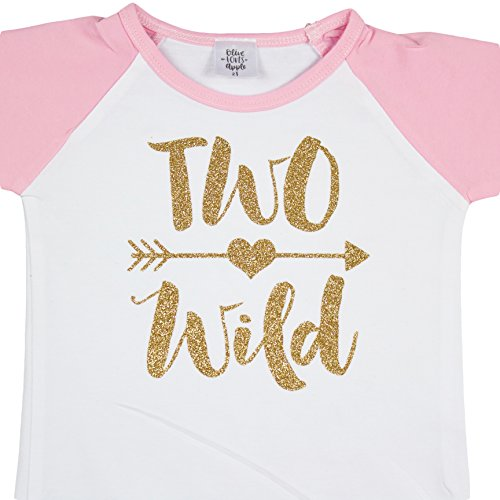 Olive Loves Apple Two Wild Glitter Gold 2nd Birthday Shirt for Girls Pink Raglan Baseball Tee for Second Birthday Girl