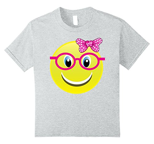 Kids Smiling Emoji Buck Teeth Girl Nerd Glasses Costume Shirt 10 Heather (Nerd Outfits Girls)