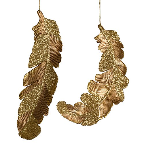 Metallic Gold Angel Feather 7.5 inch Christmas Ornament Decoration Set of 2 (Bird Feather Glitter)