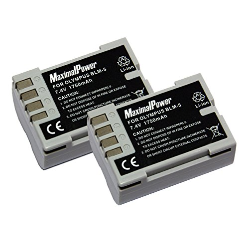 MaximalPower DB OLY BLM-5 x 2 Olympus PS-BLM5 E-1 E-3 E-30 E-300 E-330 Battery (Black)