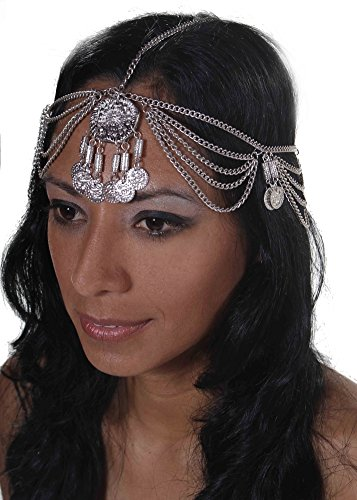 [Belly Dance Chain Head Piece with Coins | Reema - Silver] (Silver Dance Costume)