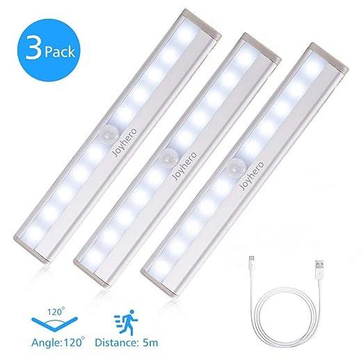Joyhero Barra Luminosa a LED Sottopensile(3pz), Luce senza fili con Sensore  Movimento, USB Ricaribile, Striscia Magnetica Incluso, Ideale per Armadio  ...